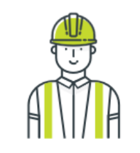 Contractor with hard hat and construction vest