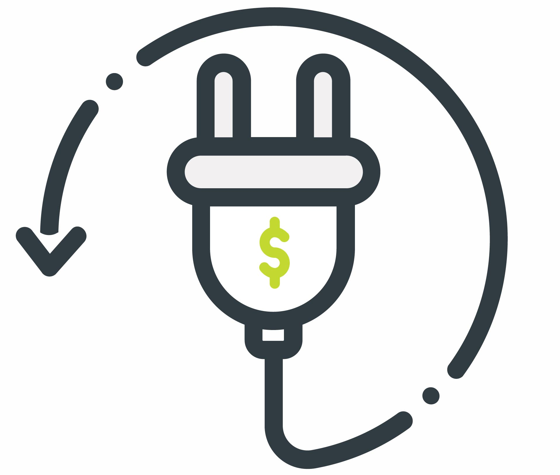 Illustration of electrical plug with dollar sign
