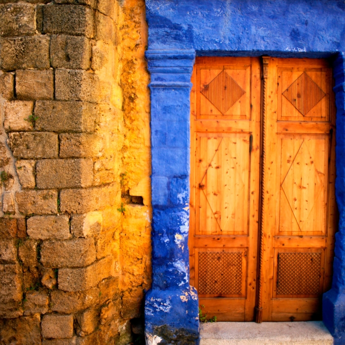 brightly colored door