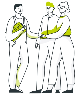 Ygrene customers shake hands with contractor they found through Ygrene's independent contractor network