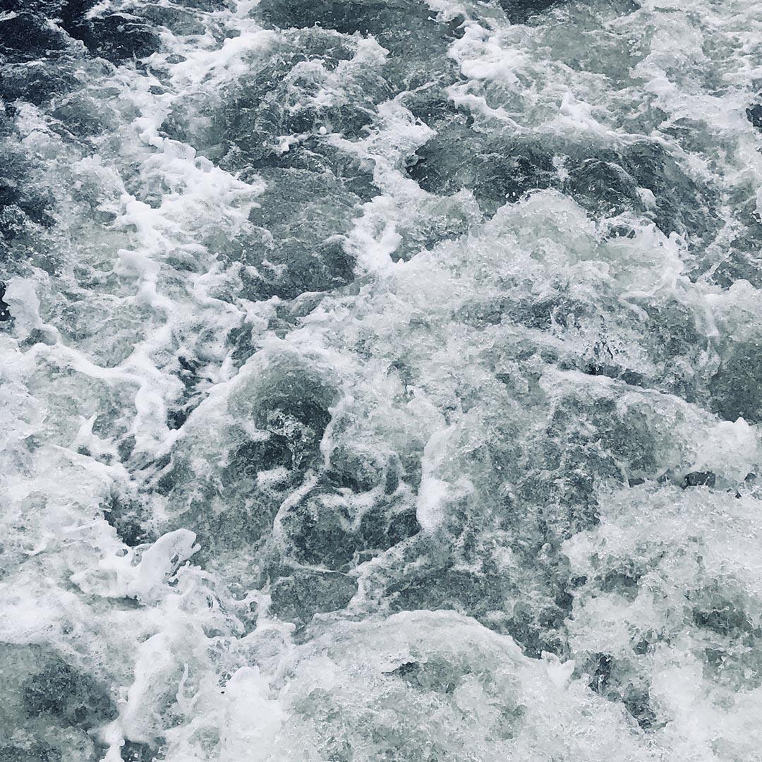 Ocean tidal waves crashing together