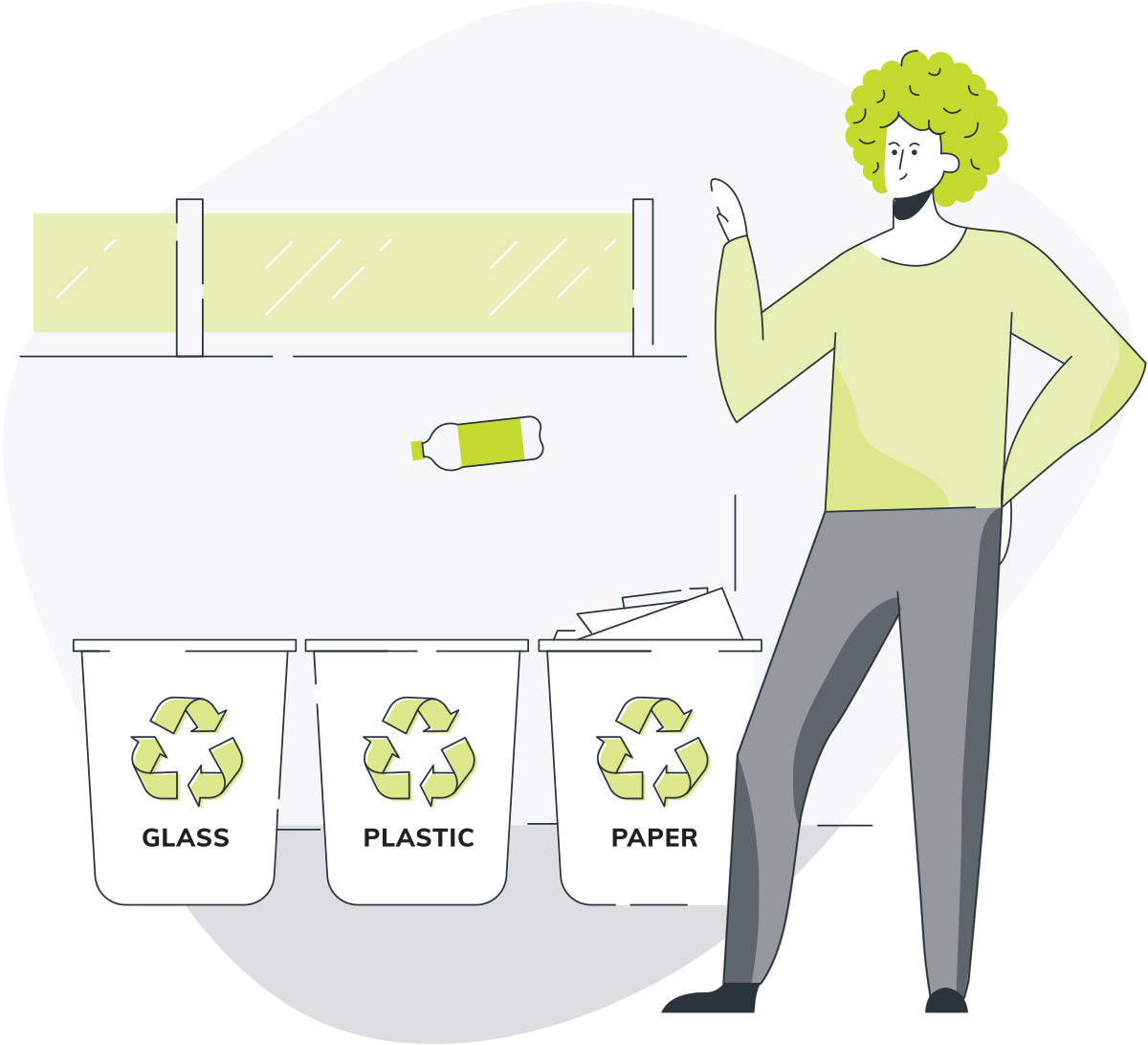 Illustration of office employee recycling plastic bottle